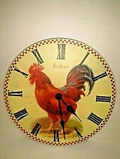 "Rooster Wall Clock Kitchen Farmhouse Country Theme Quartz Battery 11"" Round"