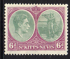 ST KITTS 1938-50 6d WITH 'BREAK IN OVAL' SG 74a MINT.