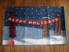 "NEW KITCHEN MAT DOORMAT HAPPY HOLIDAYS CHRISTMAS 23"" X 36"" Sleds Blue Red White"