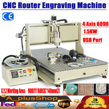 Usb 4 Axis 6090 Cnc Router Engraver Vfd Wood Craving Machine Water Cooled 1500w