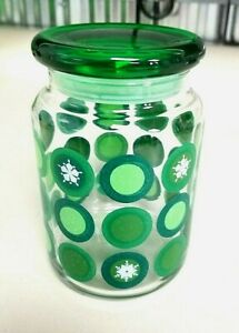 Anchor Hocking White Snowflake Green Dot Clear Glass Storage Jar with Lid #984