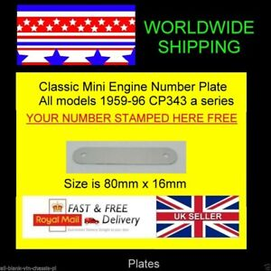 STAMPED Engine Number Plate CP343 all A series engines MG B C G RILEY WOLSELEY