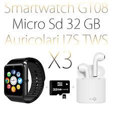OROLOGIO AURICOLARI SMARTWATCH ANDROID IOS BLUETOOTH MICRO SD GT08 NERO + 32GB