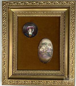 Antique Mini Portrait & Group Figural Porcelain Plaques Gold Wood Frame # 1 LHB