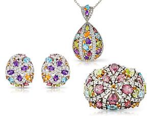 Multi Semi Precious Gems & Diamonds Set Pendant Earrings Ring M White Gold 18k