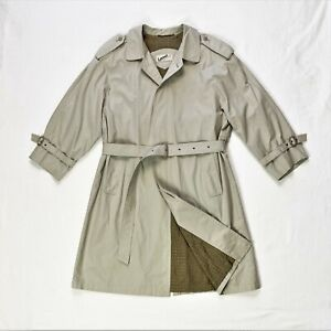 LORENO Trench Coat 100% Cotton Belted Lined Beige M 38""