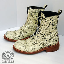 ANDRE No.1 Pale Yellow Cracked/Flaked Leather Boots, Sz 11 *NEW, Handmade USA*