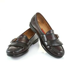 Cole Haan City Burgundy Leather Kiltie Loafers Fringe Buckle Shoes Mens 9.5 B