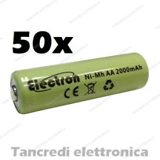 50pz Batteria Stilo AA 2000 mAh mA ricaricabile rechargeable battery Ni-Mh NiMh