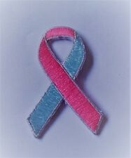 **NEW** Pink & Blue Neonatal Awareness ribbon iron-on embroidered patch.Charity