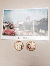 Lot UNE piece Medaille Souvenir JEANNE D ARC D'ARC ROUEN + CARTE POSTALE Buché