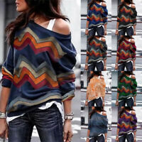 Plus Size Womens Geometric Long Sleeve Ladies Pullover Loose Jumper Tops Blouse