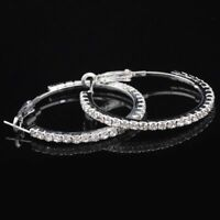 2Ct Round Diamond Micropave Huggie Hoop Earring 14K White Gold Plated