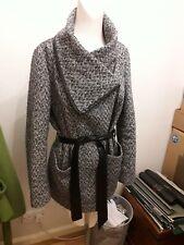 Atmosphere Herringbone/Faux Leather Wrap Coat, size 10