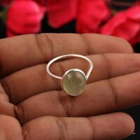 A Natural Prehnite 925 Sterling Silver Ring Size 8.5 w topaz .Cocktail Ring Prehnite Ring Gift for Her.