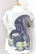 MOTHER OF PEARL silk pale green black parrot gorilla blouse top t-shirt Medium M