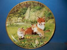 "Red Fox Family Butterfly Chase Franklin Collector Plate Ltd Ed 9."" + hanger"