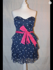 Abercrombie and Fitch Mini Strapless Dress Polka Dot navy S Small Bow