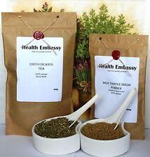 Cistus Incanus Tea 100g & Milk Thistle Seeds Powder 100g Set - Health Embassy