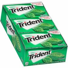 Trident Spearmint Sugar Free Gum - with Xylitol - 12 Packs (168 Pieces Total)