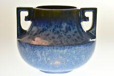 Fulper Pottery 1915-1925 Blue Crystalline Vase Greek Key Design Handles #452