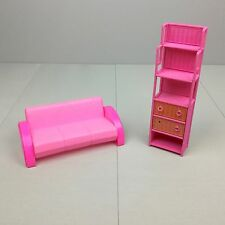Vintage Barbie Living Room Furniture Playset Couch & Shelf 1986 Mattel Pink Lot