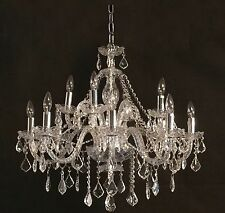 "Beautiful CRYSTAL PENDANT CHANDELIER: 12-Lights, CHROME Finish, NEW, D32"" x H28"