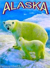 Polar Bear Mother & Cub Alaska United States Travel Advertisement Art Poster