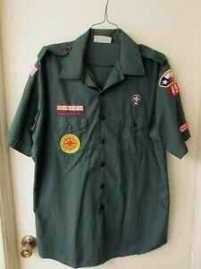 BSA Venturing Green Short Sleeve Uniform Shirt Men's Size XL w Patches