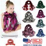 Women's Floral Organza Flower Long Shawl Lightweight Wrap Fashion Scarf