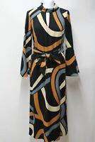 HOBBS Edie Dress Ladies Black Swirl Stripe Bell Sleeve Knee High UK6 NEW