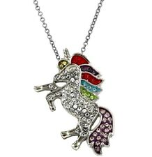 Silver Tone Crystal Unicorn Pendant Necklace 18 Inches Stainless Steel Chain