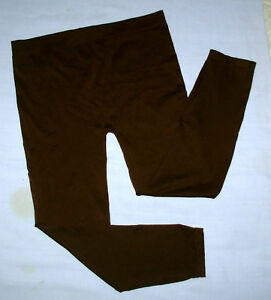 Apostrophe stretch leggings womens sz L capri yoga pants brown nylon spandex