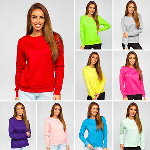 Sweatshirt Langarmshirt Pullover Pulli Basic Unifarben Sport Damen BOLF Classic