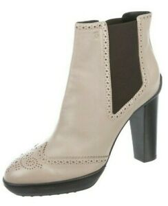 NIB Tod's Light Brown Leather Brogue Detail High Heel Ankle Boots Size 40
