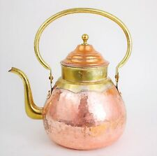"VINTAGE HAMMERED COPPER  &  BRASS Tea Kettle - Classic Kitchen Kettle - 10"" Tall"