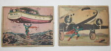 1940 Superman Gum Cards #10 Fury of the sea and  #38 Marooned in the Clouds UNG