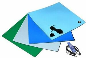"""ESD 2 LAYER SMOOTH RUBBER WORK SURFACE MAT WITH WRIST STRAP 24"""" X 48"""" - Green"""