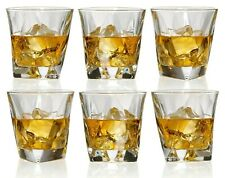 Set of 6 Angle Whiskey Glass - Elegant Lead Free Crystal Old Fashioned Glasses