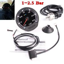 74mm 7 Color LED Digital Display 1-2.5 Bar Turbocharged Boost Gauge For 12V Car