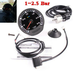 74mm 7 Color LED Digital Display 1-2.5 Bar Turbocharged Boost Gauge For 12V Car