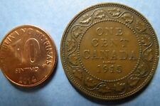 1915  CANADA,  KING GEORGE VII ONE CENT LARGE BRONZE COIN, Fine Circulated