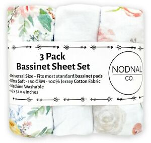 3 Pack Pink Floral Bassinet Fitted Sheet Set Cotton Baby Girl Flowers NODNAL CO
