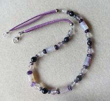 Handmade Banded agate & amethyst part beaded necklace with suede cords  N663