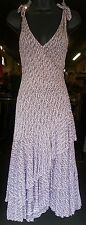 Diane von Furstenburg size 6 lavender brown white tiered asymmetrical hem dress