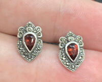Vintage Sterling Silver Marcasite & Garnet Post Pierced Earrings
