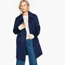 LA REDOUTE Navy Blue Military Wool Mix Pea Coat Size 14/16 Fitted Smart RRP £129