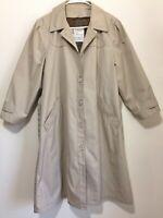 London Fog Women's Maincoats Belt Removable Linen Tan/Khaki 6 Petite Trench Coat