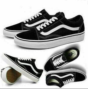 Vans Old Skool Trainers Black Unisex Sneaker Leder Canvas Snesker Gr.36 - 44 EU