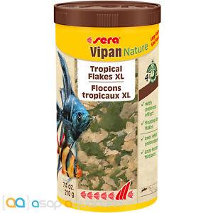 sera Vipan Nature Tropical Flakes XL 1000mL Large Sized Flake Fish Food